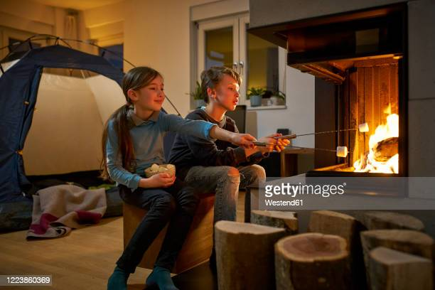 brother and sister barbecueing and camping in the living room - hygge stock-fotos und bilder