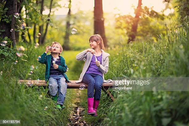 brother and sister blowing  bubbles - spring flowing water stock pictures, royalty-free photos & images