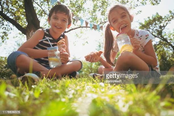 brother and sister drinking homemade fresh lemonade and eating croissants - lemon soda stock pictures, royalty-free photos & images