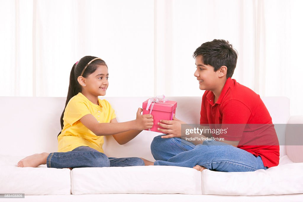 Brother and sister holding gift box : Stock Photo