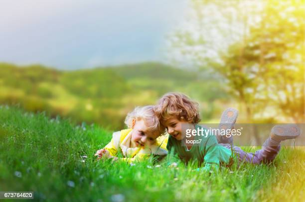 兄と妹の牧草地に敷設