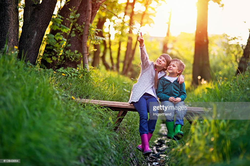Brother and sister sitting on bridge in forest : Stock Photo