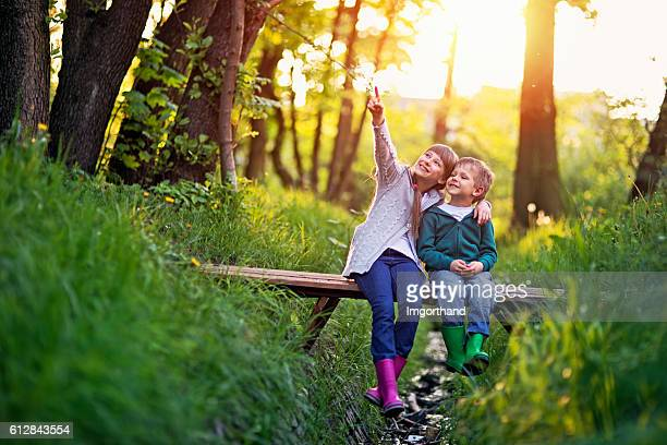 brother and sister sitting on bridge in forest - spring flowing water stock pictures, royalty-free photos & images
