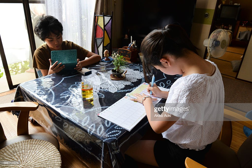 Brother and sister studying at home : Stock Photo