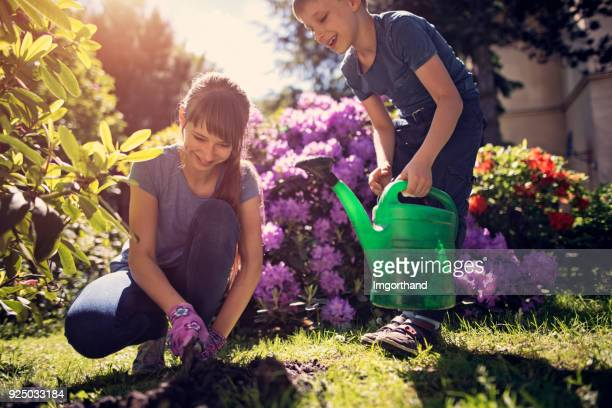 Brother and sister tending to flowers in garden