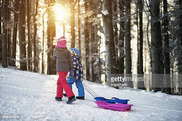 Brother and sister tobogganing in winter forest.