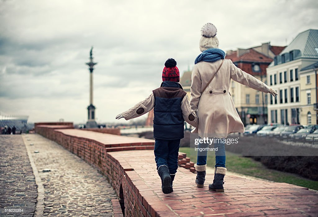 Brother and sister visiting Warsaw : Stock Photo