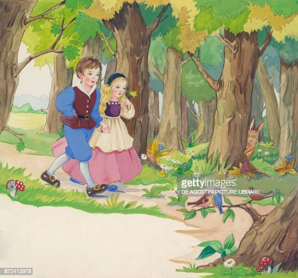 Brother and Sister wander in the woods illustration for Brother and Sister fairy tale by the Grimm brothers Jacob and Wilhelm drawing