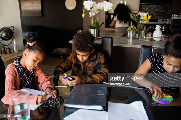 """brother and sisters homeschooling on the dining room table. - """"martine doucet"""" or martinedoucet stock pictures, royalty-free photos & images"""