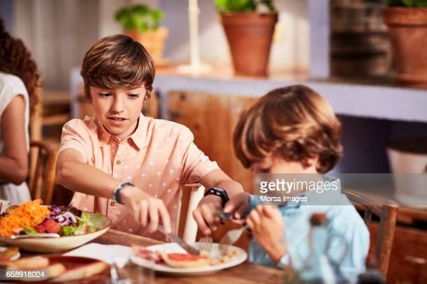 hermano ayudando a muchacho en carne de corte en mesa - hermanos fotografías e imágenes de stock