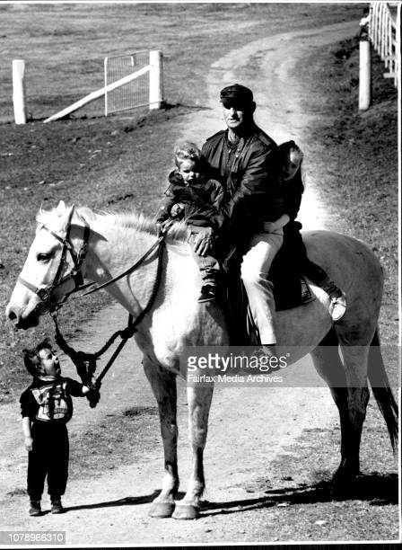 Brother Finbar Kelly sits on his horse Angelina surrounded by kids staying on the farm Tammy aged 2 Shannon aged 2 and Kirsty aged 3The alcoholic...