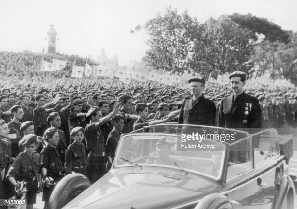 Brother inlaw of General Franco and Spanish Minister of the Interior Ramon Serrano Suner arrives in Valencia with the governor of the province for a...