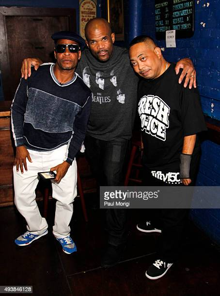 Brother Marquis and Fresh Kid Ice of 2 Live Crew pose for a photo with Darryl 'DMC' McDaniels of Run DMC backstage at Rock The Vote's #TBT 25th...