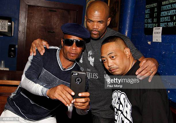 Brother Marquis and Fresh Kid Ice of 2 Live Crew pose for a selfie with Darryl 'DMC' McDaniels of Run DMC backstage at Rock The Vote's #TBT 25th...