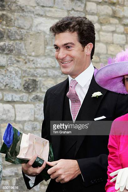 Brother of the groom Edward van Cutsem is seen among guests at the society wedding of Hugh Van Cutsem Junior to Rose Astor at Burford Parish Church...