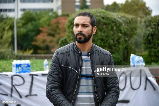 Brother of Yacine Bilel ben kalhal speaks to journalists in front of the court yard od Bobigny On 2nd October 2017 in Seine St Denis ÎledeFrance