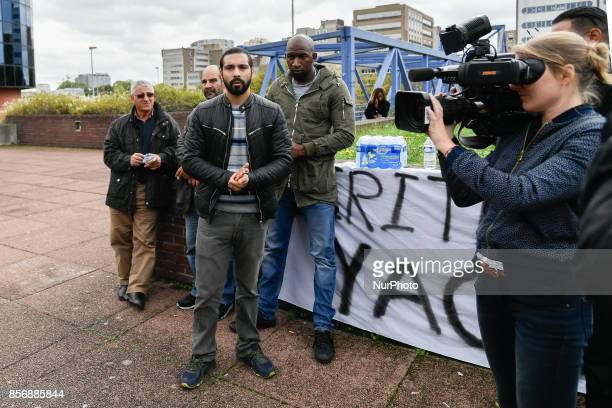 Brother of Yacine Bilel ben kalhal speaks to journalists in front of the court yard od Bobigny On 2nd October 2017 in Seine St Denis ÎledeFrance