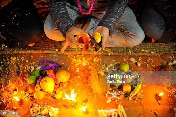 NAGAUN KIRTIPUR KATHMANDU NEPAL KATHMANDU NP NEPAL A brother receives SAGUN from her sister on the procession of Bhai Tika on the fifth and last day...
