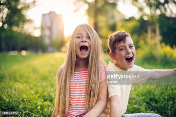 Brother shouting out loud with his sister