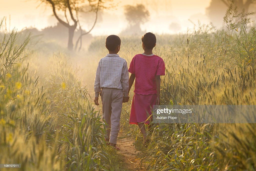 Brother & sister walking through field : Stockfoto