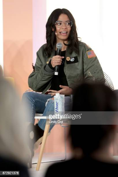 Brother Vellies Creative Director Aurora James speaks onstage at Girlboss Rally Hosted By Sophia Amoruso's Girlboss on November 11 2017 in New York...