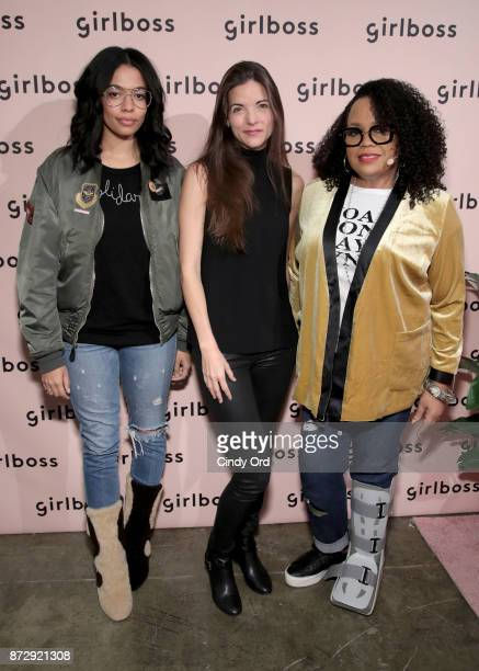 Brother Vellies Creative Director Aurora James The Muse CoFounder CEO Kathryn Minshew and and Carol's Daughter Founder Lisa Price attend Girlboss...