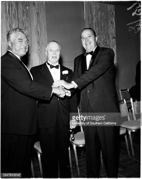 Brotherhood Awards 22 May 1958 Frank J Lausche Robert E GrossEddie Cantor James F Twohy Ernest J Loebbecke Supplementary material reads '#13#3#4 L to...