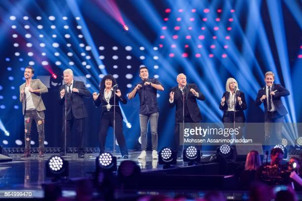 Brotherhood of Man and KLUBBB3 perform during the show 'Das Internationale Schlagerfest' at Westfalenhalle on October 21 2017 in Dortmund Germany