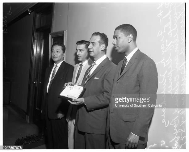 Brotherhood week 4 February 1958 Frank Kurihara Philip N Gepner Councilman Edward RoybalLeonard BeaversCaption slip reads 'Photographer Mitchell Date...