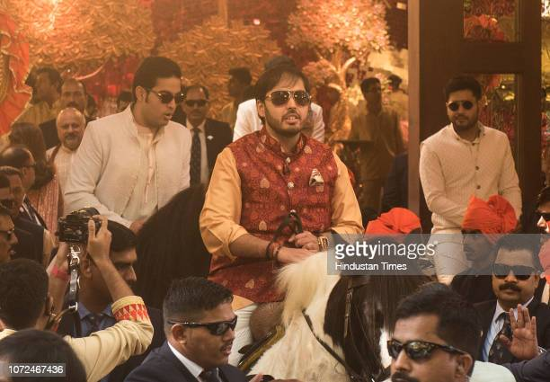 Brothers Anant Ambani and Akash Ambani during wedding of their sister Isha Ambani and Anand Piramal at Antilia Peddar Road on December 12 2018 in...