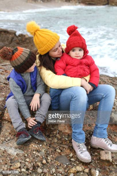 Brothers and sister tourists enjoying nature