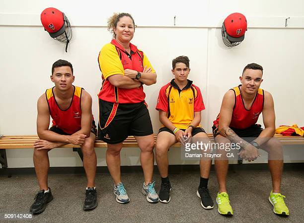 Brothers Ayden McGregorBaptista Dylan McGregorBaptista and Marcus McGregorCassady of South Australia pose for a photo with their Team Manager and...