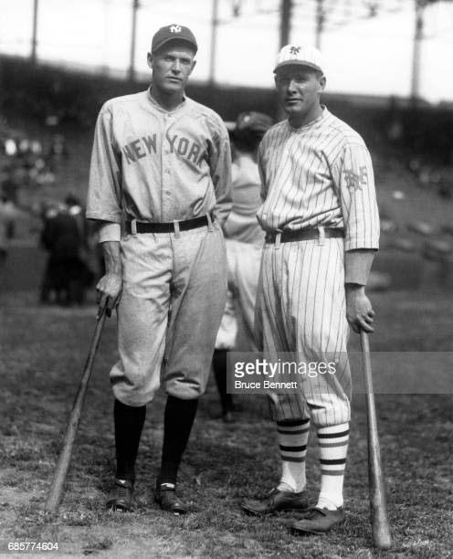 Brothers Bob Meusel of the New York Yankees and Irish Meusel of the New York Giants pose for a portrait before Game 1 of the 1922 World Series on...