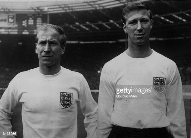 Brothers Bobby and Jack Charlton in their England strip