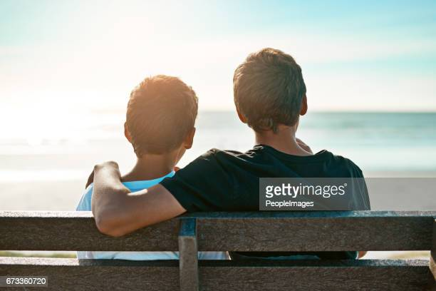 Brothers bonding at the beach