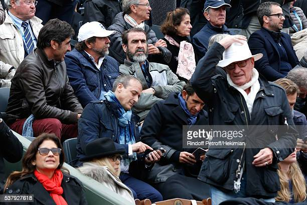 Brothers Cantona Joel Cantona JeanMarie Cantona Eric Cantona Mireille Darc and her husband Pascal Desprez attend Day Thirteen of the 2016 French...