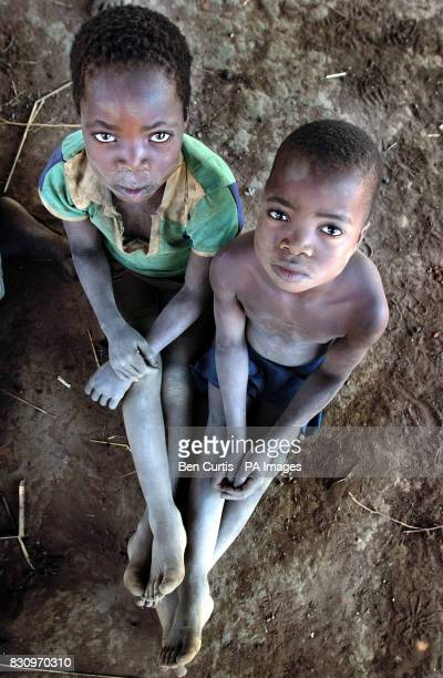 Brothers Chipiriro Samalani and Pitirosi Samalani sit in the faminestricken village of Kanyopola in central Malawi The United Nations currently...