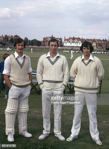 Brothers Dayle Hadlee Barry Hadlee and Richard Hadlee of New Zealand before the World Cup warmup match between New Zealand and Sri Lanka at The...