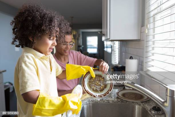 Brothers Doing Dishes