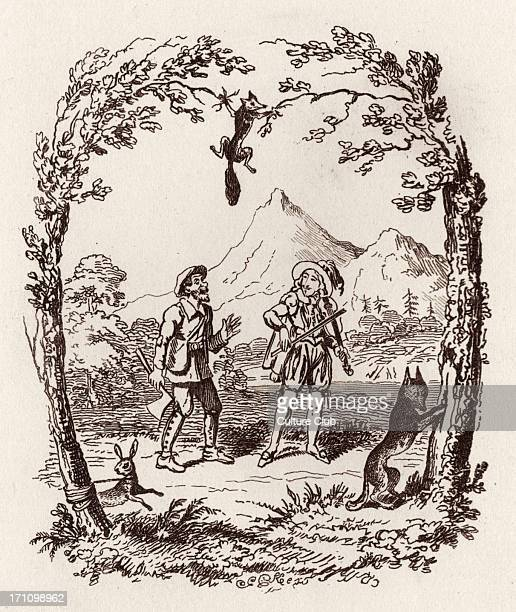 Brothers Grimm Children's and Household Tales published in 1812-15. Later known as Grimm's fairy tales. Illustration for ' The Wonderful Musician''...