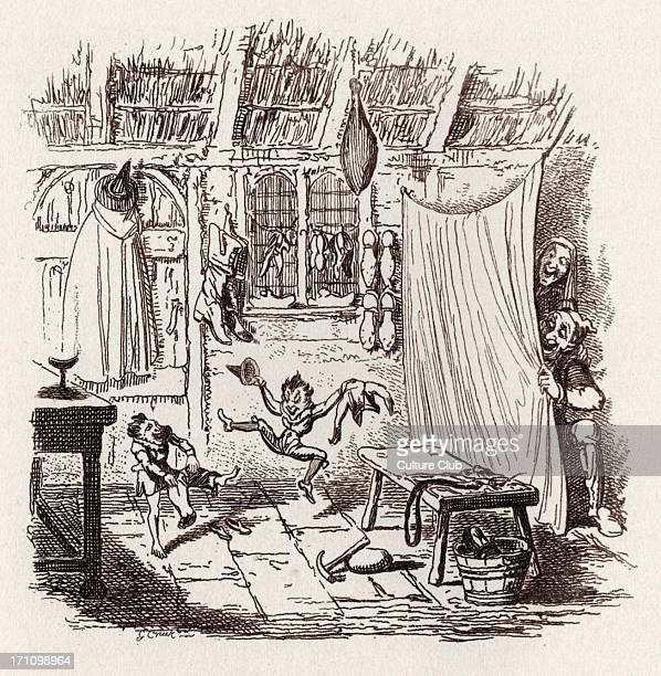 Brothers Grimm Children's and Household Tales published in 1812-15. Later known as Grimm's fairy tales. Illustration for ' The Elves and the...
