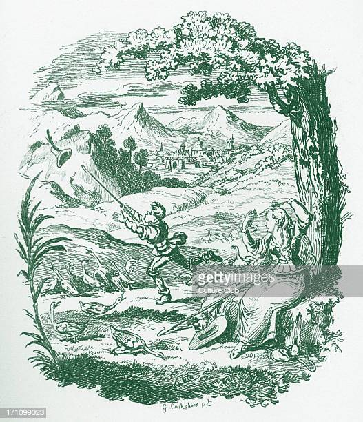 Brothers Grimm Children's and Household Tales published in 1812-15. Later known as Grimm's fairy tales. Illustration for ' The Goose-Girl' Jacob...