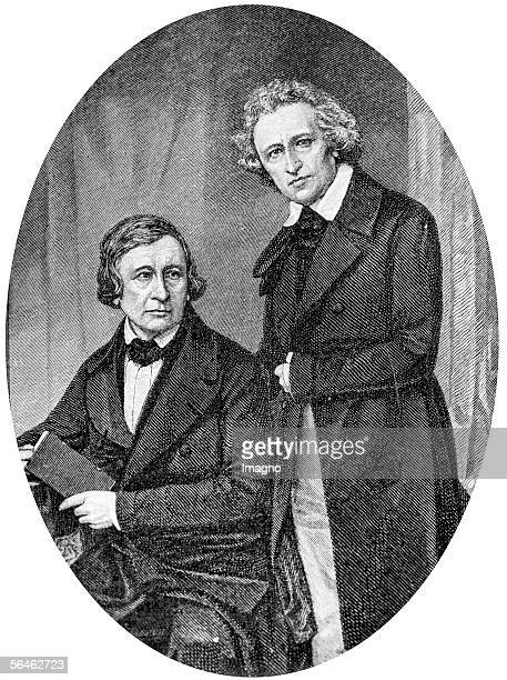 Brothers Grimm Wood Engraving Around 1840 [Jakob und Wilhelm Grimm Holzstich Um 1840]