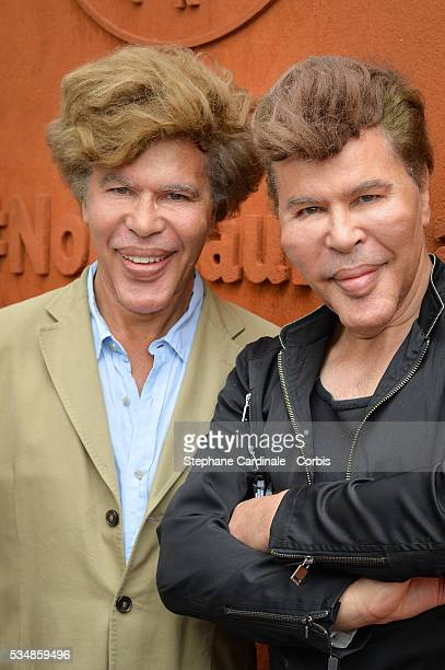 Brothers Igor Bogdanoff and Grichka Bogdanoff attend day seven of the 2016 French Open at Roland Garros on May 28 2016 in Paris France