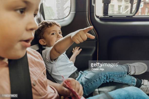 Brothers inside a New york taxi