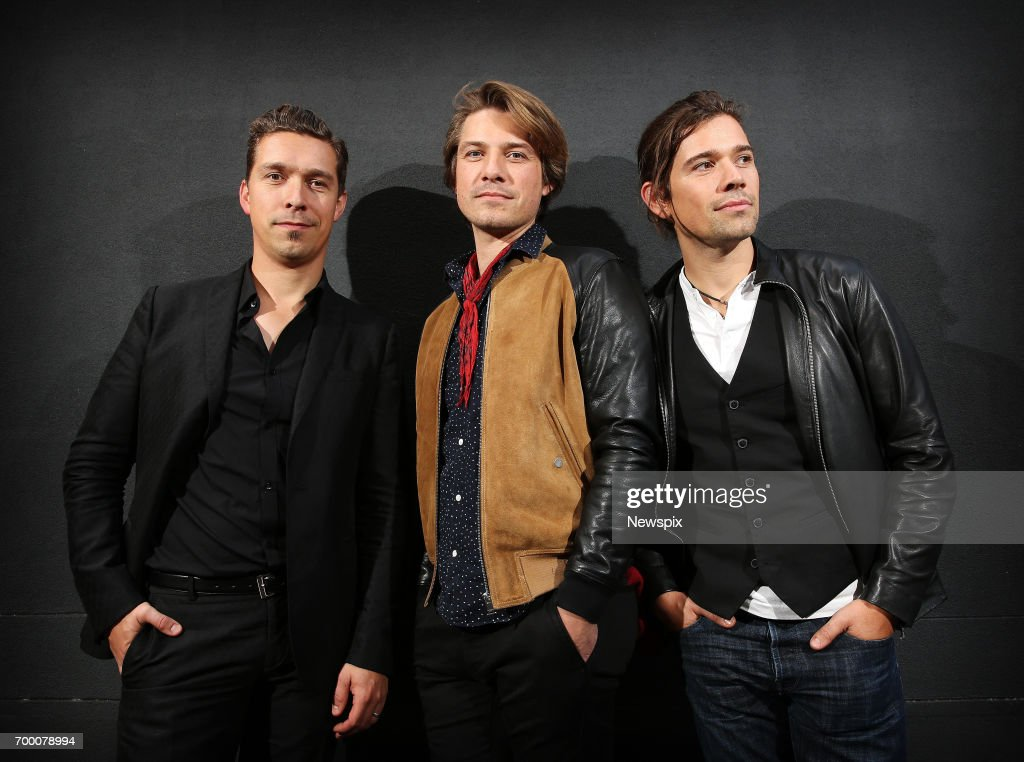 SYDNEY, NSW. (EUROPE AND AUSTRALASIA OUT) (L-R) Brothers Isaac Hanson, Taylor Hanson and Zac Hanson of Hanson pose during a photo shoot in Sydney, New South Wales.
