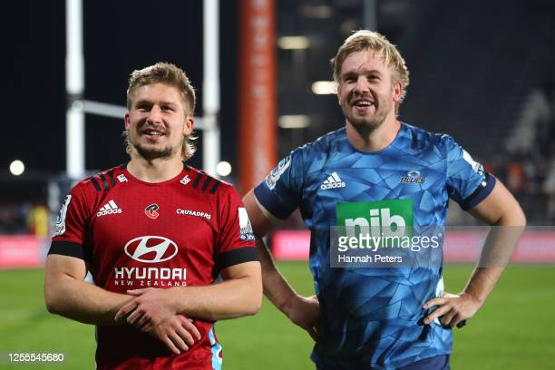 Brothers Jack Goodhue and Josh Goodhue following the round 5 Super Rugby Aotearoa match between the Crusaders and the Blues at Orangetheory Stadium...