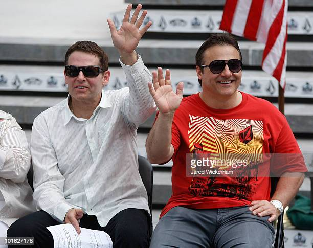 Brothers Joe and George Maloof talk during the Maloof Money Cup ribbon cutting ceremony on June 4, 2010 at Flushing Meadows Corona Park in the...