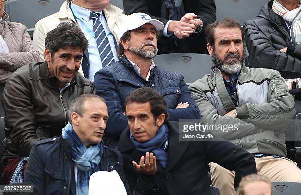 Brothers Joel Cantona JeanMarie Cantona and Eric Cantona attend day 13 of the 2016 French Open held at RolandGarros stadium on June 3 2016 in Paris...