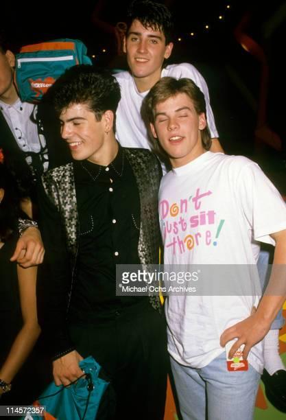 Brothers Jordan Knight and Jonathan Knight of New Kids On The Block with unknown circa 1990 Jordan KnightJonathan Knight
